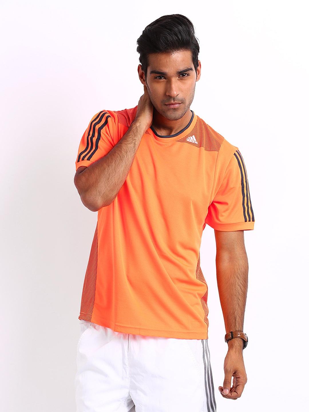 Adidas Adidas Men Neon Orange Printed T-Shirt (Multicolor)