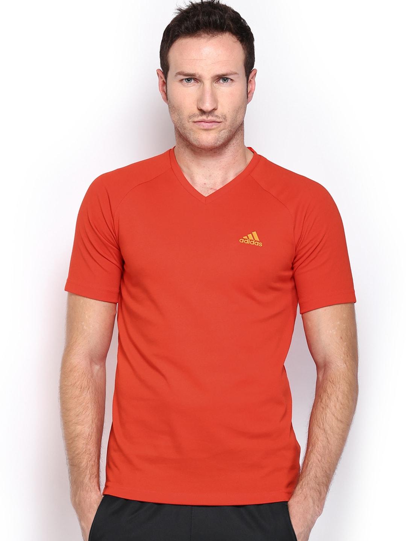 Adidas Adidas Men Orange SE Plain T-Shirt (Multicolor)