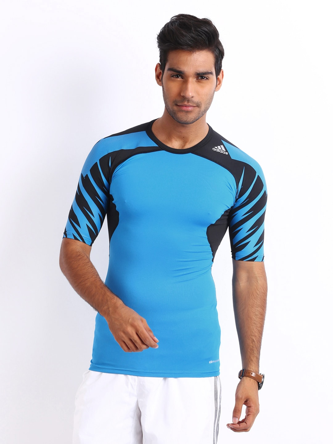Adidas Adidas Men Blue Tight Fit T-Shirt (Multicolor)