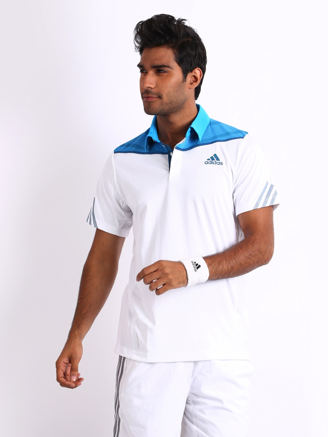 Adidas Adidas Men White Polo T-Shirt (Multicolor)