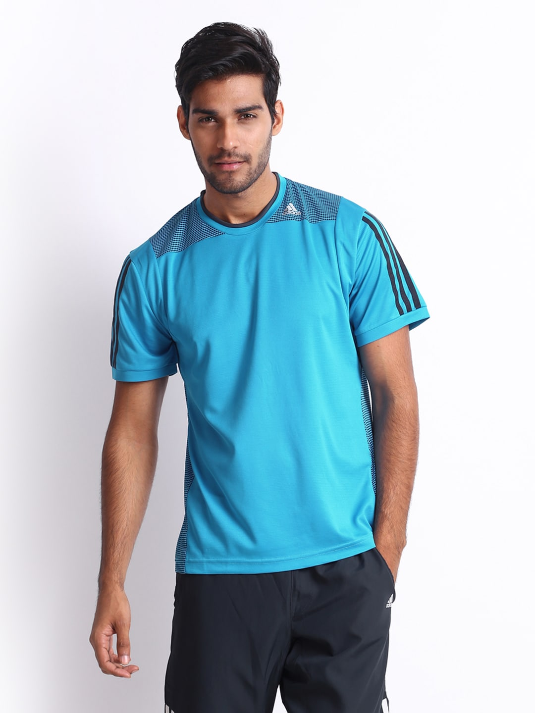 Adidas Adidas Men Blue Printed T-Shirt (Multicolor)