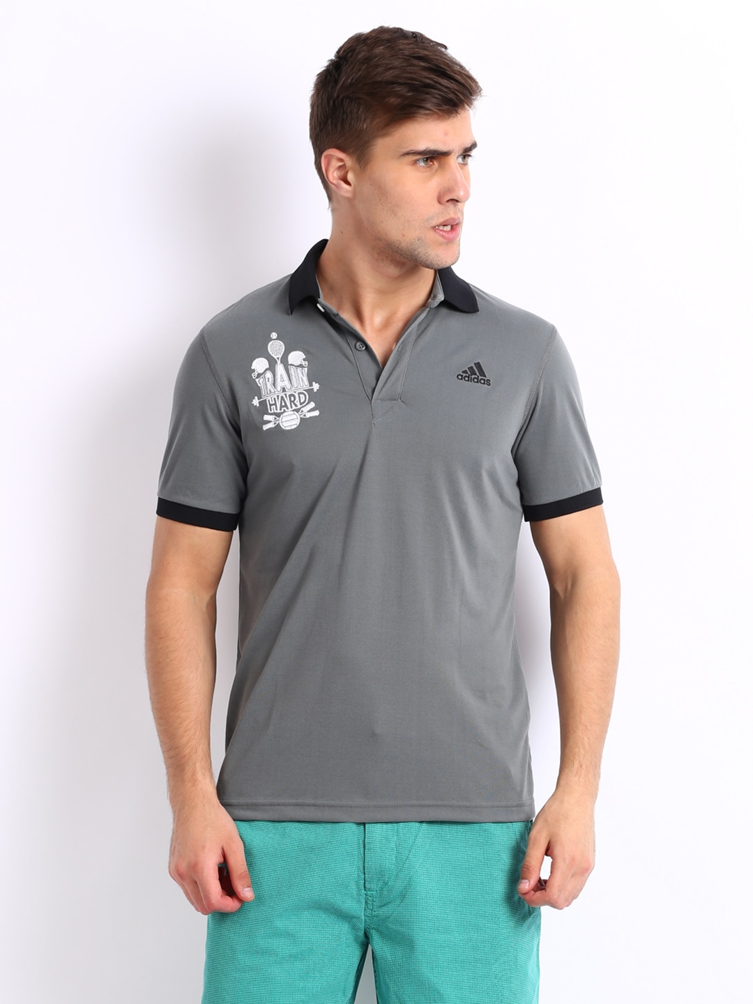 Adidas men grey polo t shirt for Polo t shirts india
