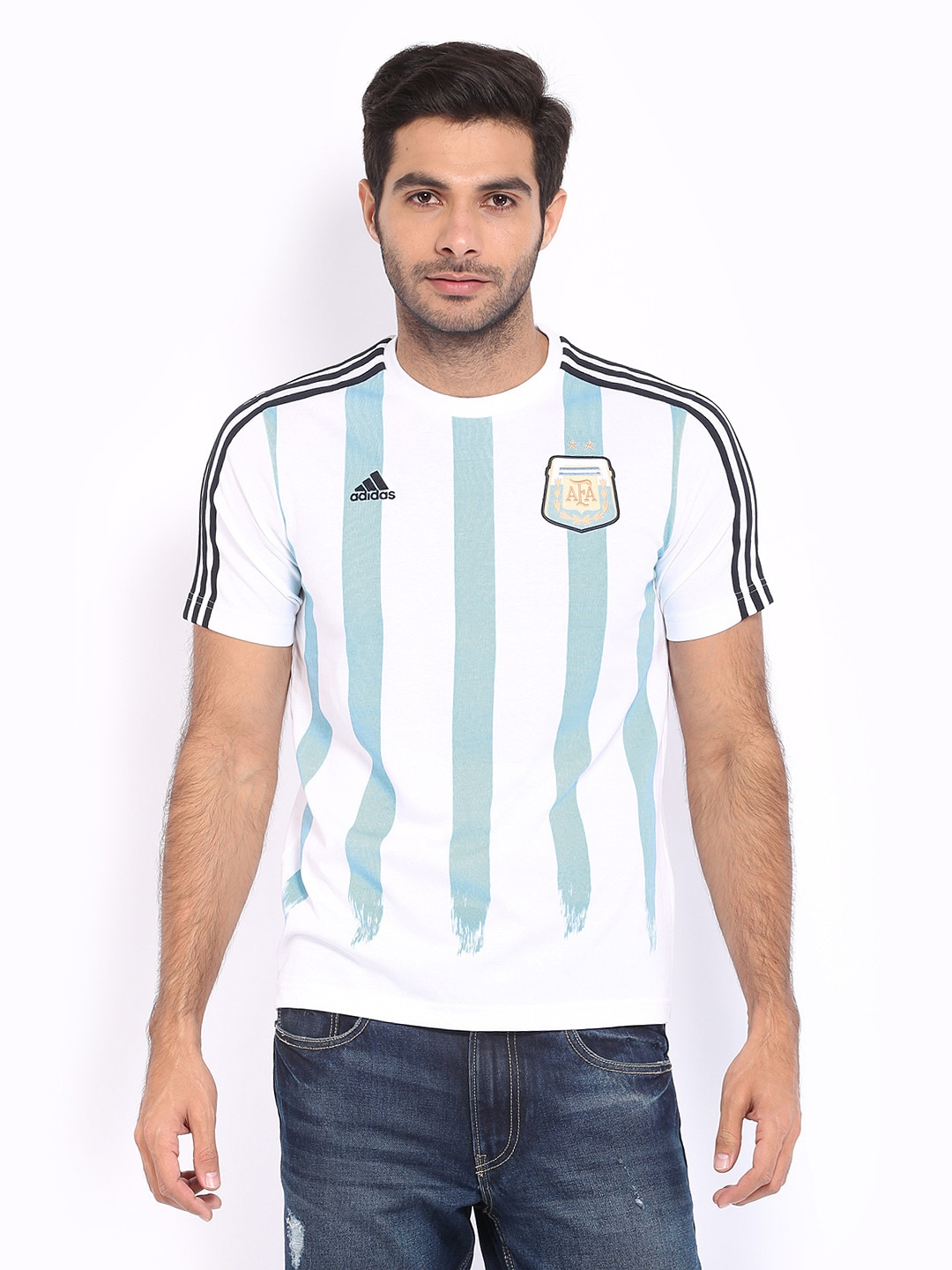 Adidas Adidas Men White & Blue Messi Printed Jersey T-Shirt (Multicolor)
