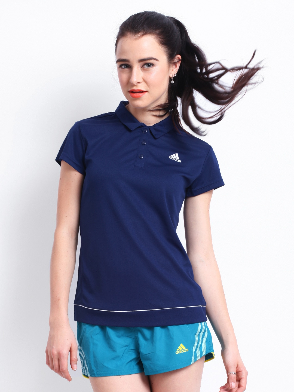 Adidas Adidas Women Blue Polo T-Shirt (Multicolor)