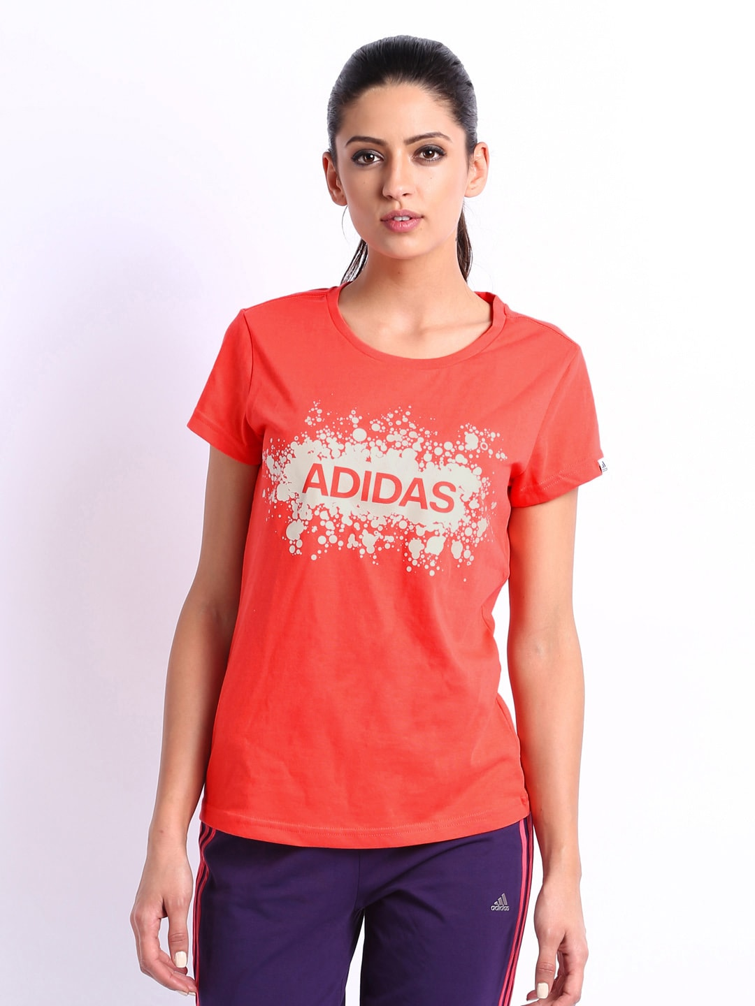 Buy adidas women coral red printed t shirt 2 apparel for Coral t shirt womens