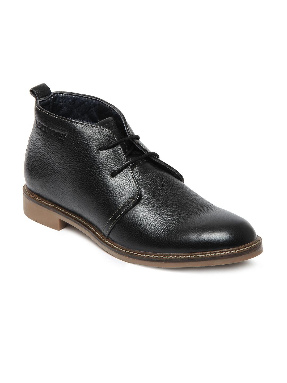 buy alberto torresi black leather semi formal shoes