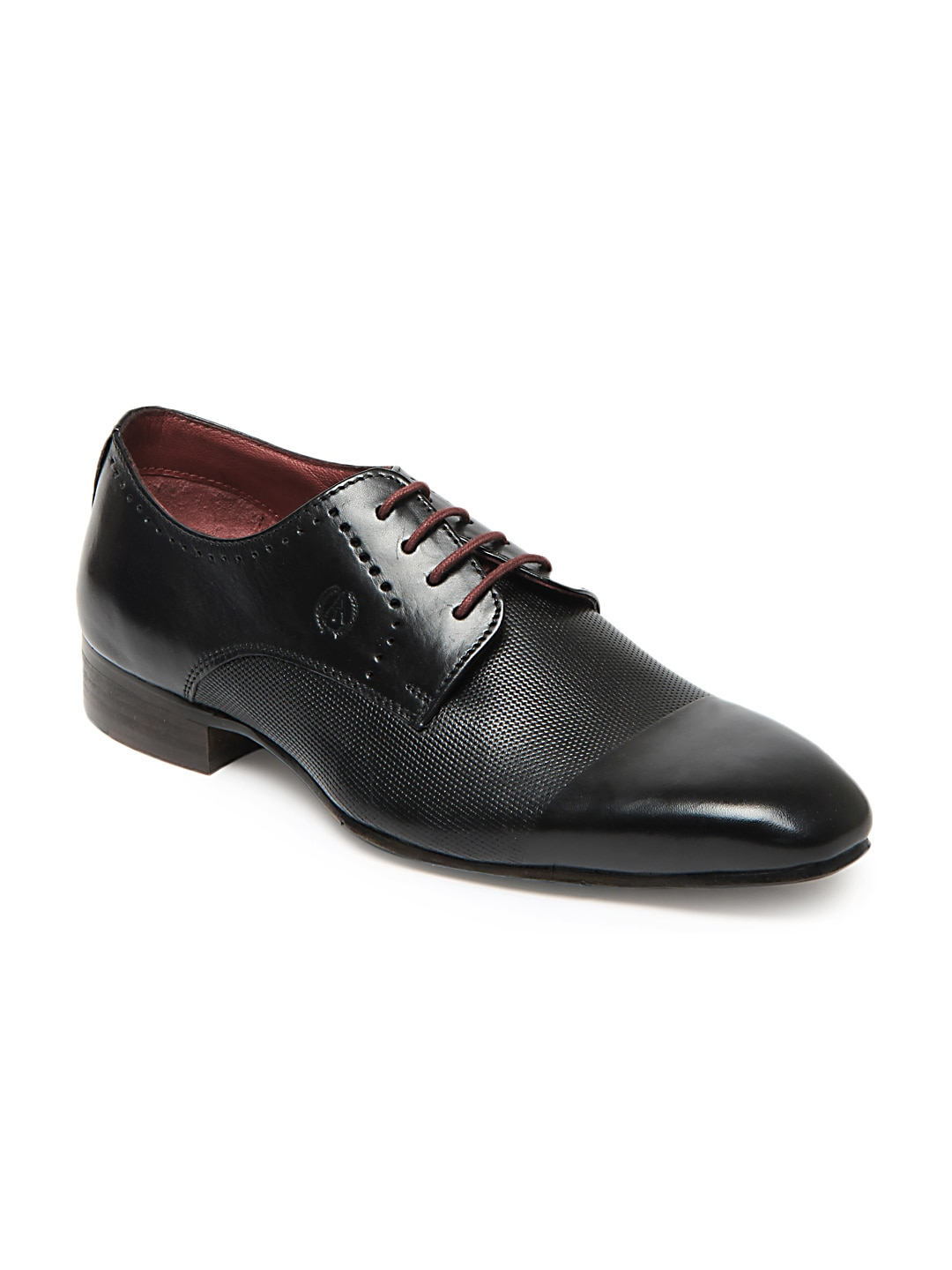buy alberto torresi black leather semi formal shoes