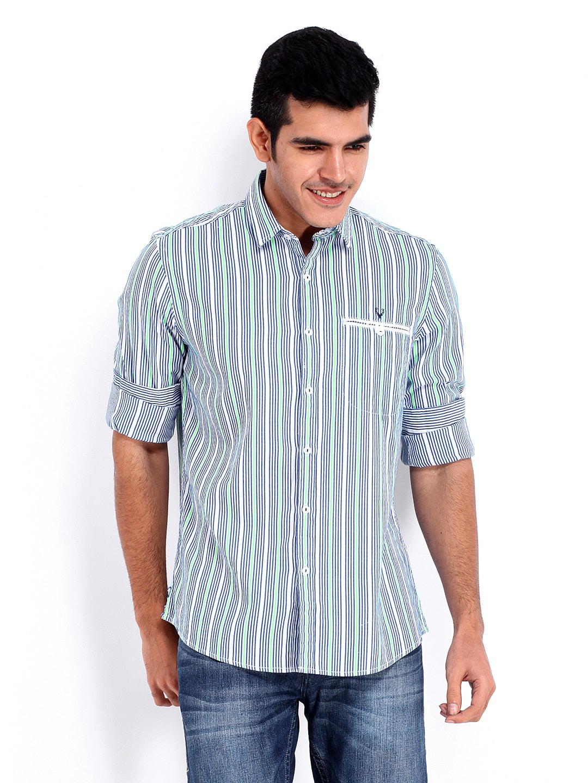 Buy Allen Solly Men Blue White Striped Custom Fit Casual
