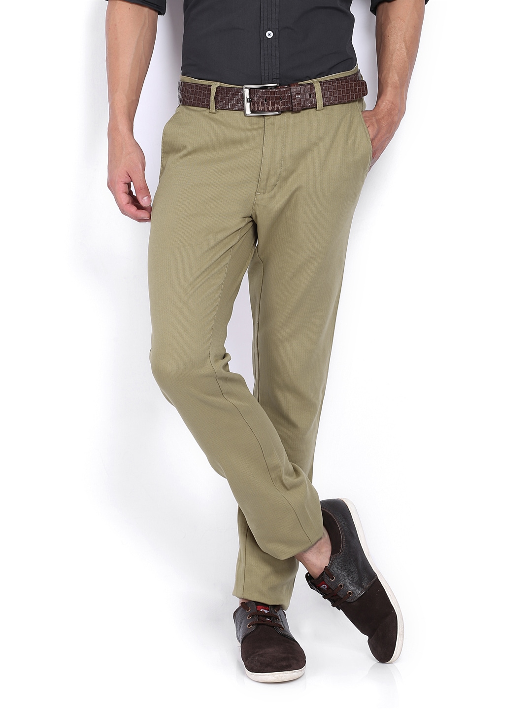 Allen Solly Men Khaki Coloured Smart Fit Trousers