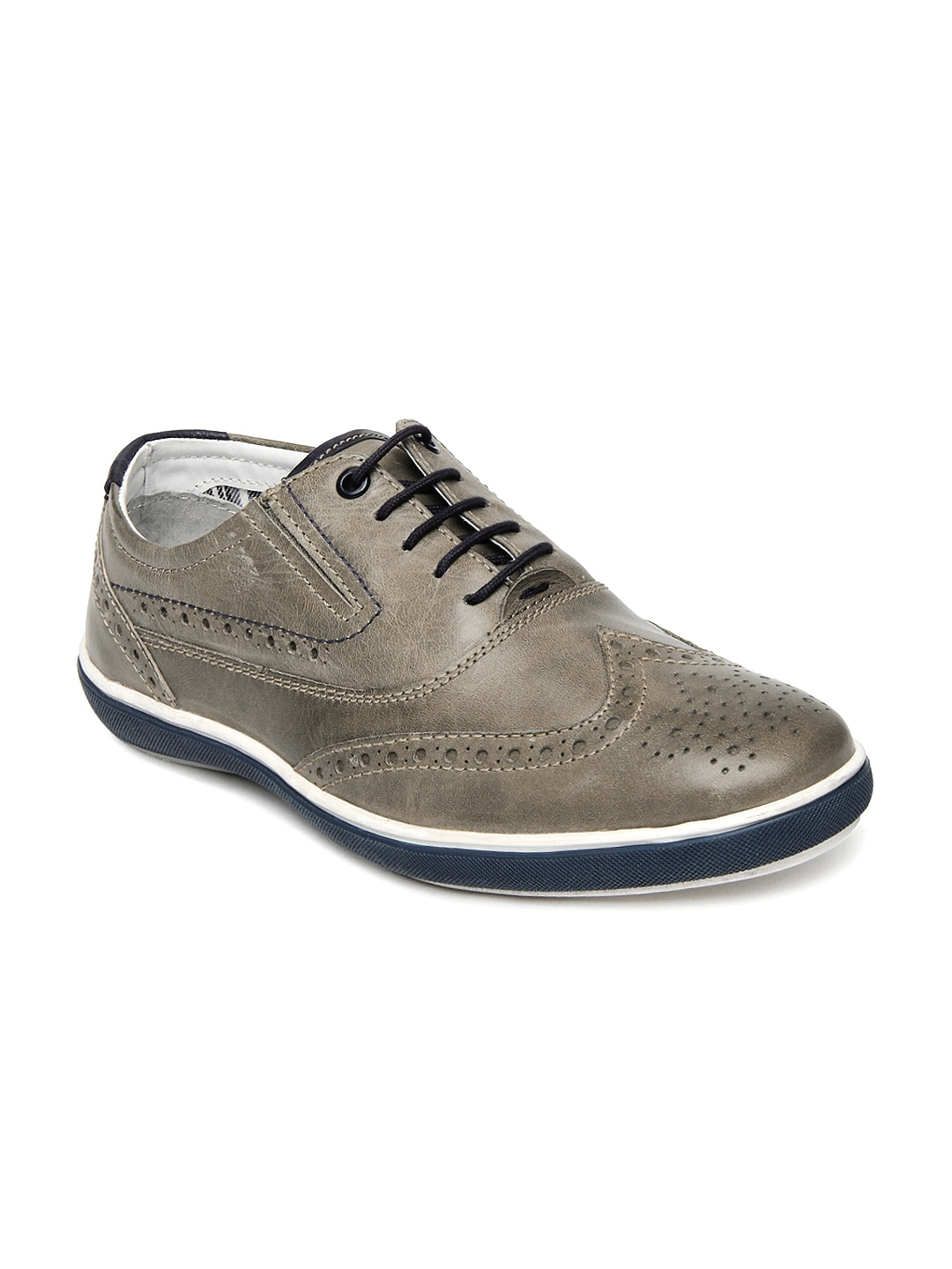 allen solly brown leather casual shoes
