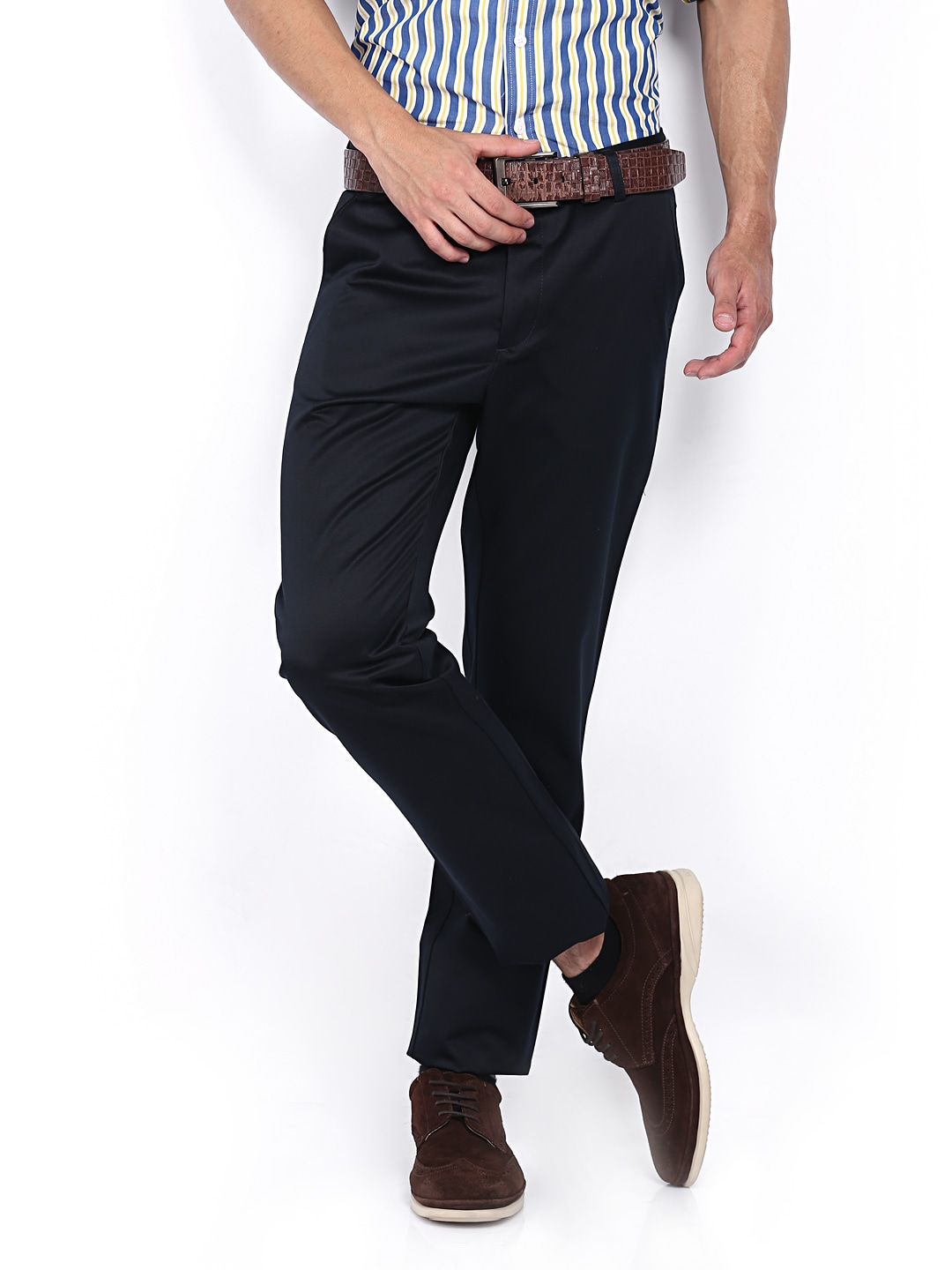 Allen Solly Men Navy Custom Slim Fit Trousers