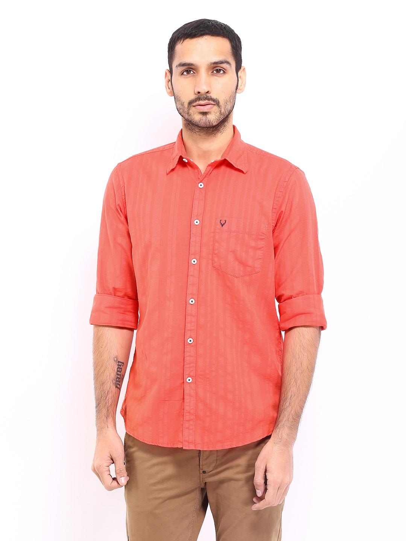 Buy Allen Solly Men Orange Custom Fit Casual Shirt 320