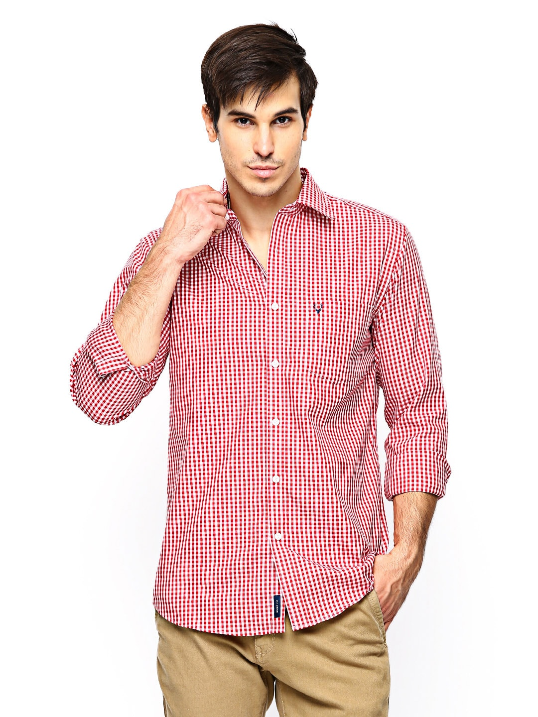 Allen Solly Men Red  White Gingham Checked Sport Fit Casual Shirt