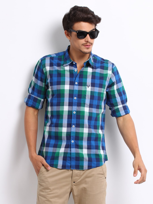 Buy Allen Solly Men Blue Green Checked Custom Fit Casual