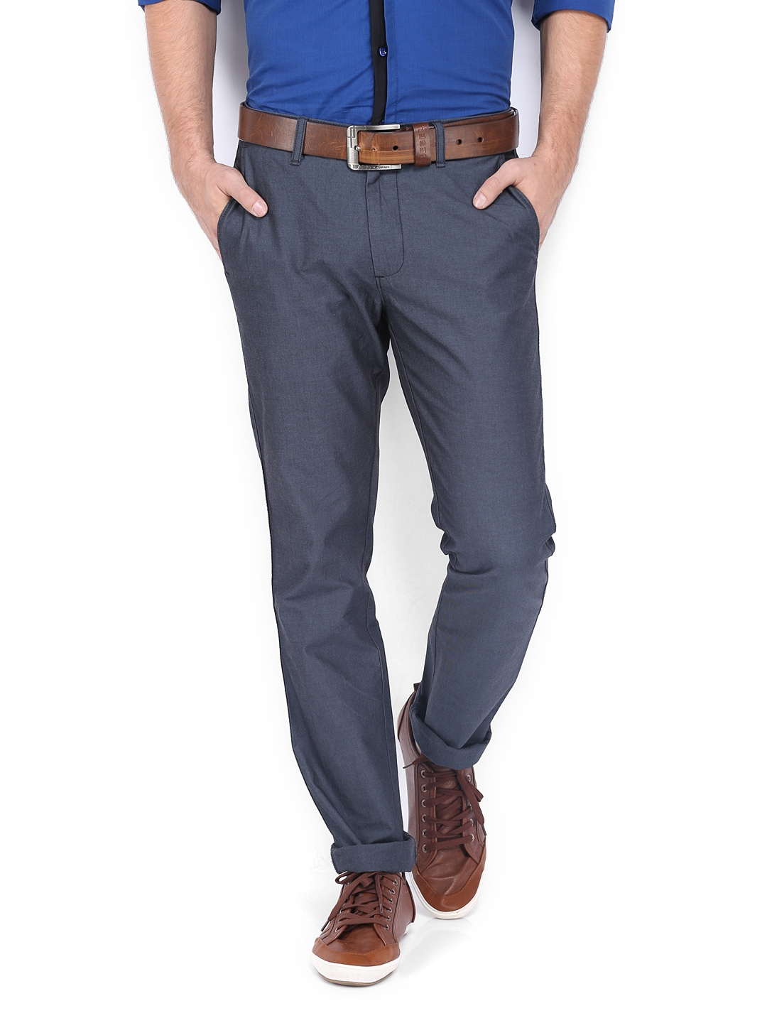 Allen Solly Men Blue Smart Slim Fit Trousers