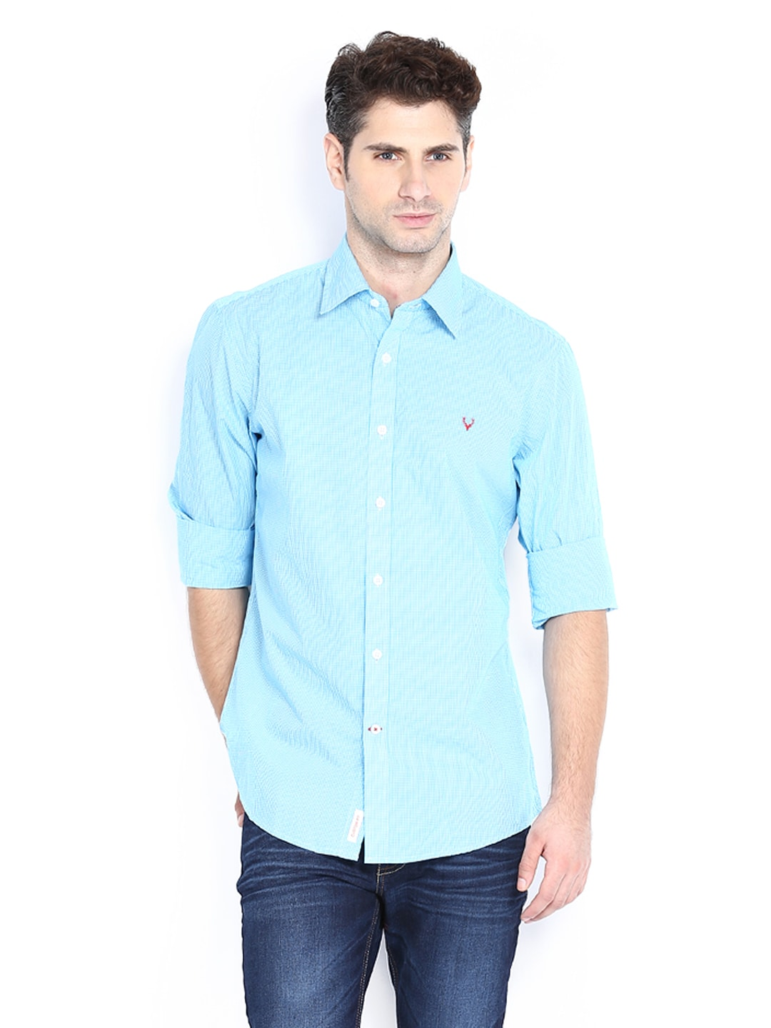 Allen Solly Men White  Blue Checked Custom Fit Casual Shirt