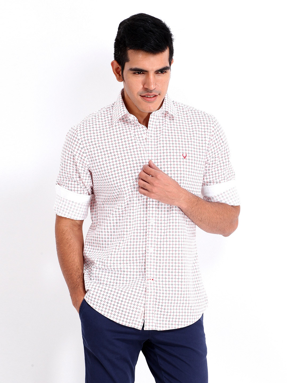 Buy Allen Solly Men White Red Printed Custom Fit Casual