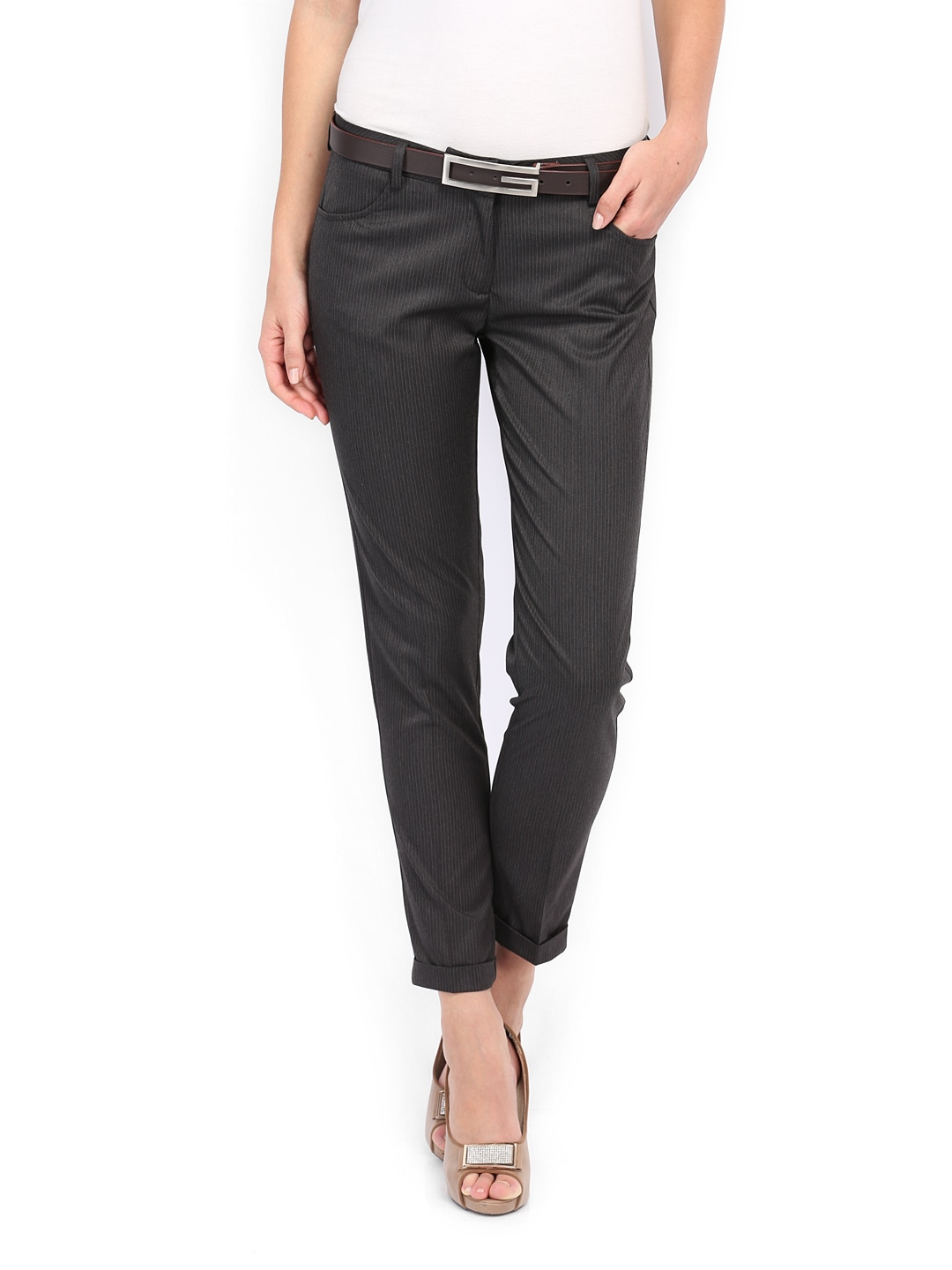 Allen Solly Woman Charcoal Grey Striped Formal Trousers
