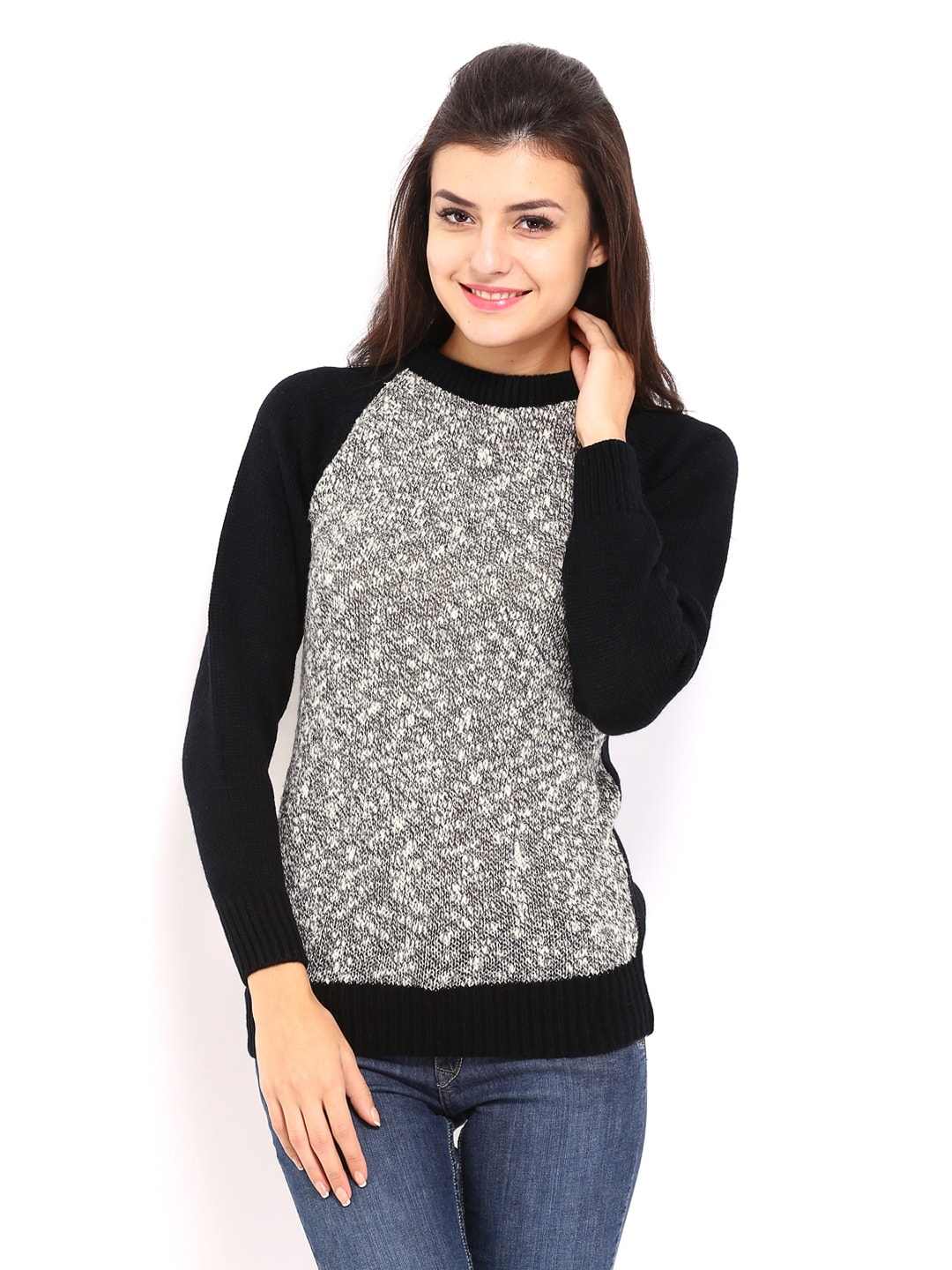 71e8af7a251 Buy Allen Solly Woman Grey   Black Sweater (multicolor) 7512435 for ...