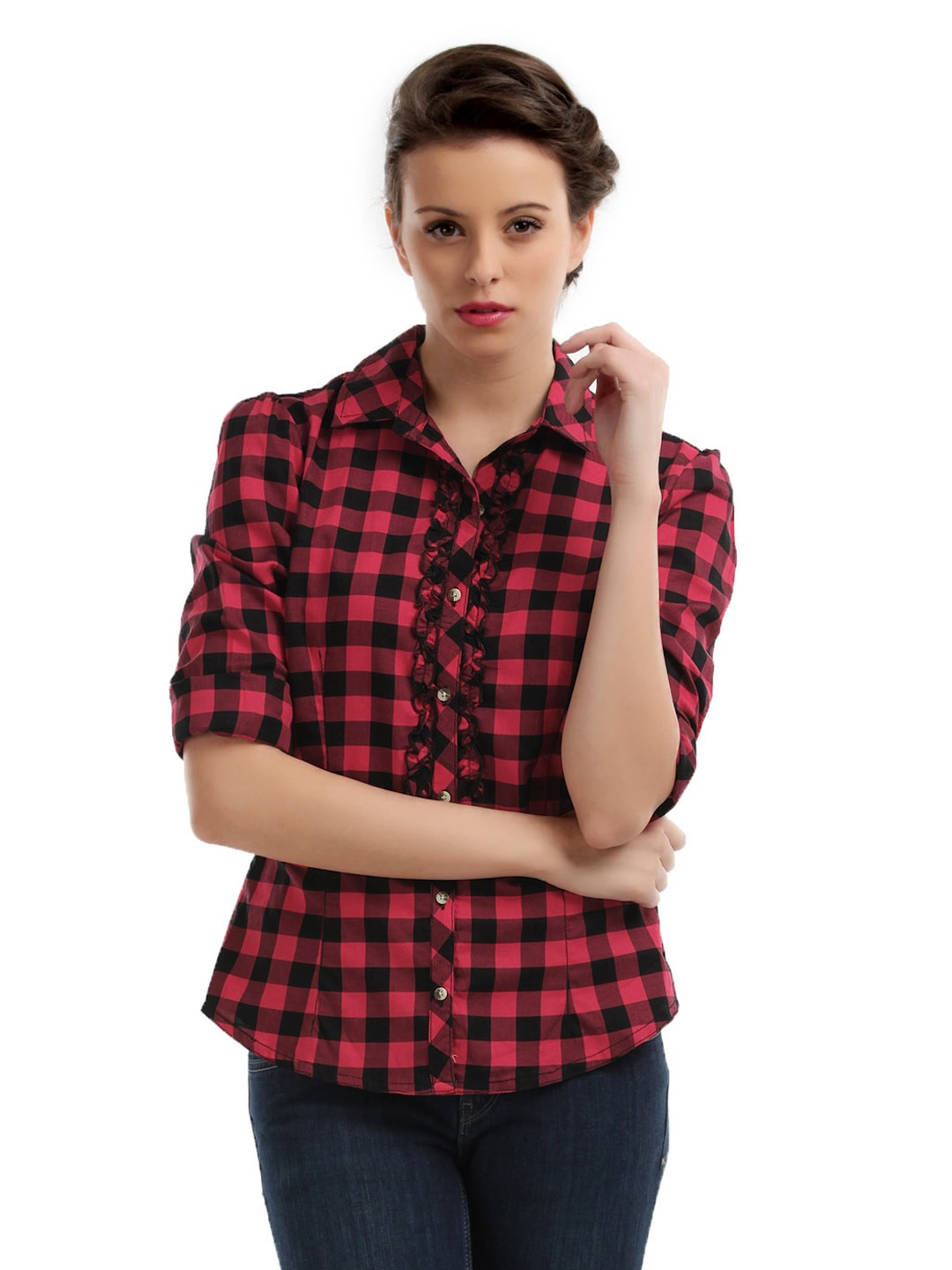 Red And Black Check Shirt Womens Artee Shirt