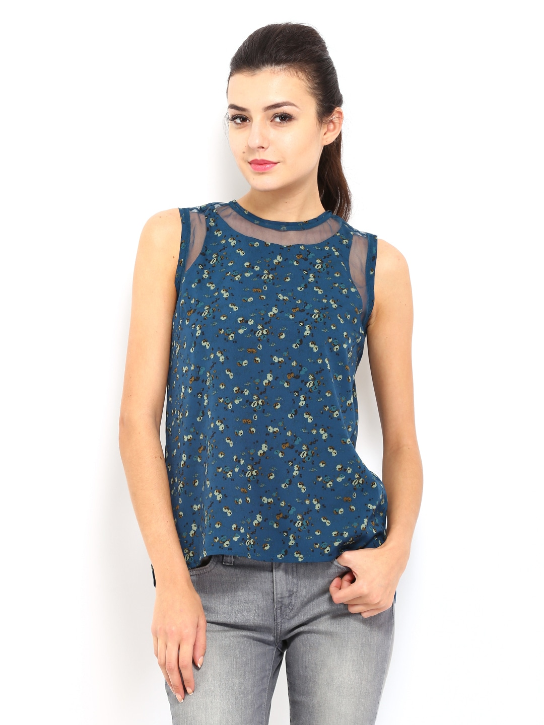 Allen Solly Woman Teal Blue Printed Top