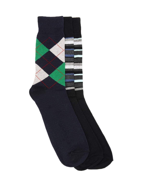 Alvaro Castagnino Men Black & Navy Blue Pack of 3 Socks
