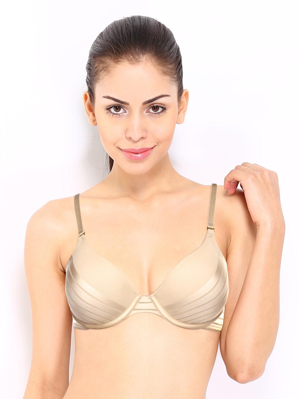 Amante Nude-Coloured Self-Striped Plunge Bra BGSR02