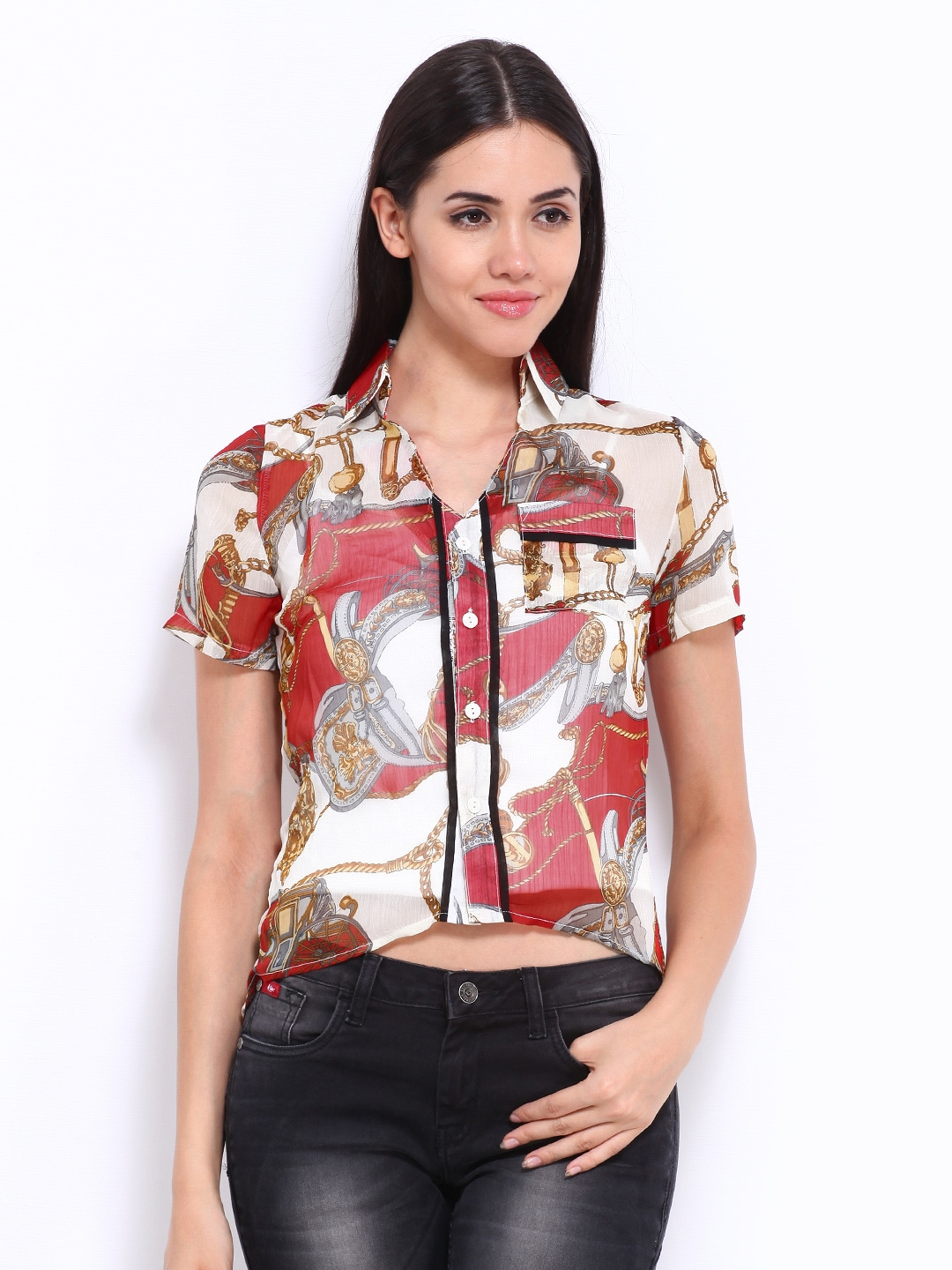 Red American Laundry Women Off-White & Red Sheer Shirt (Multicolor)