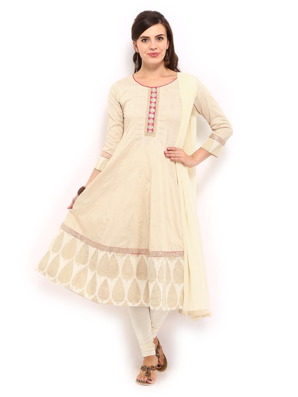 Anouk Rustic Women Beige & Cream-Coloured Cotton Anarkali Churidar Kurta with Dupatta (beige\/sand\/tan)