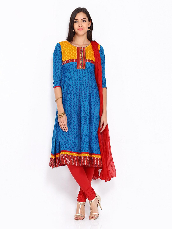62ae357d8236b Anouk Women Blue & Red Printed Anarkali Churidar Kurta with Dupatta  (multicolor)