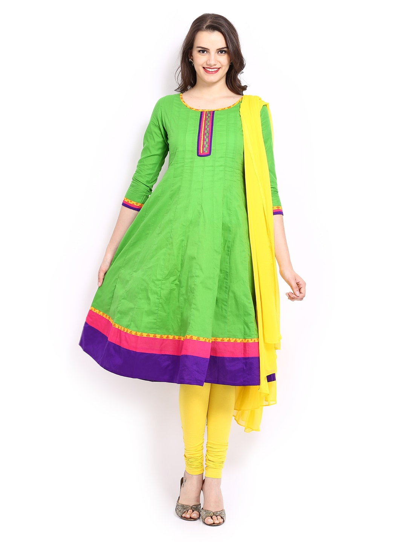 Anouk Women Green & Yellow Anarkali Churidar Kurta with Dupatta (multicolor)