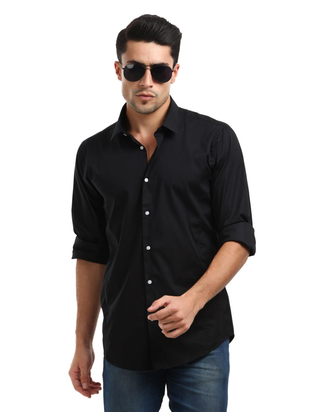 Buy arrow new york men black slim fit shirt 320 for Black tuxedo shirt for men