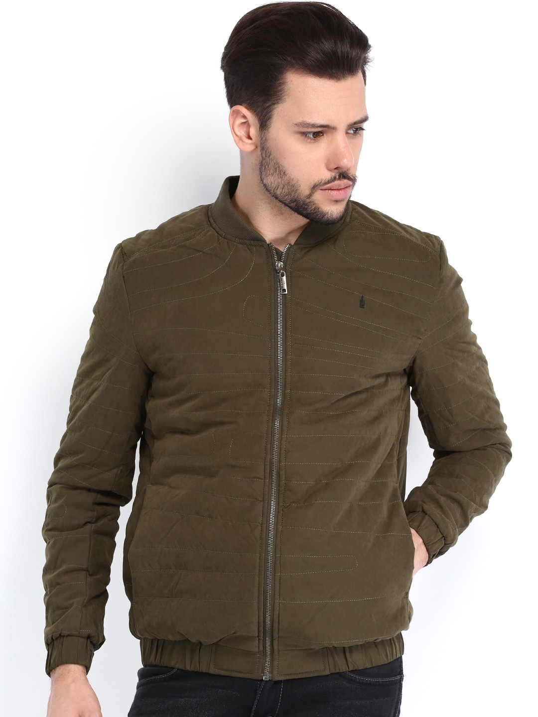 Arrow New York Men Olive Padded Jacket