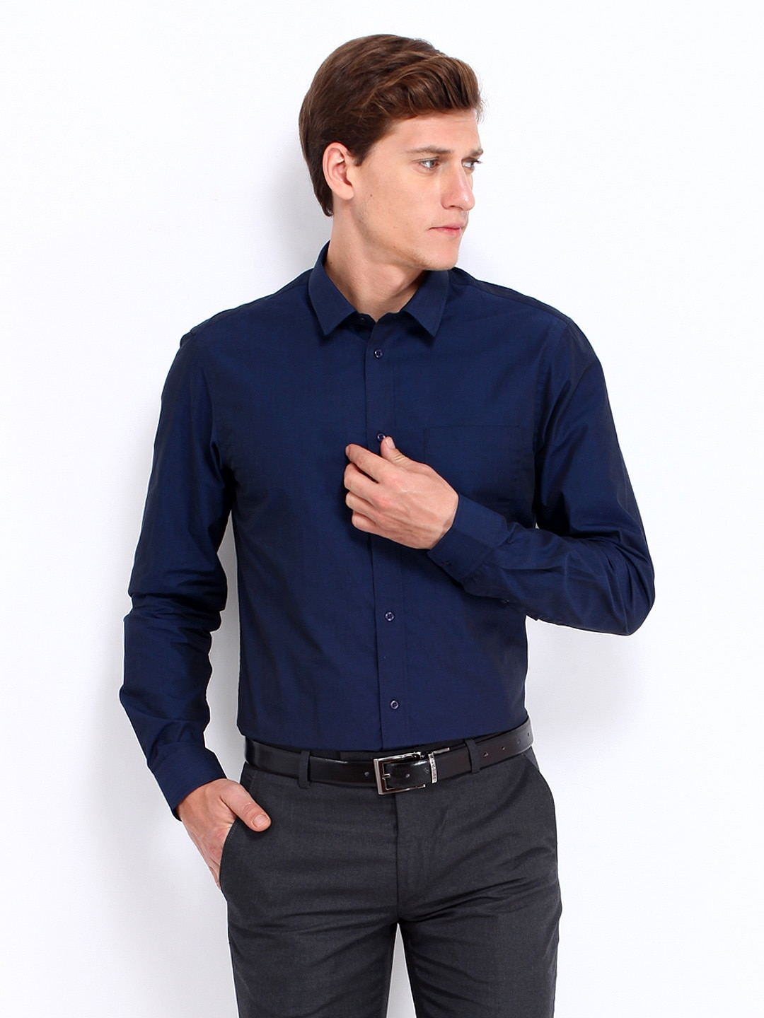 buy arrow new york men navy slim fit formal shirt 320