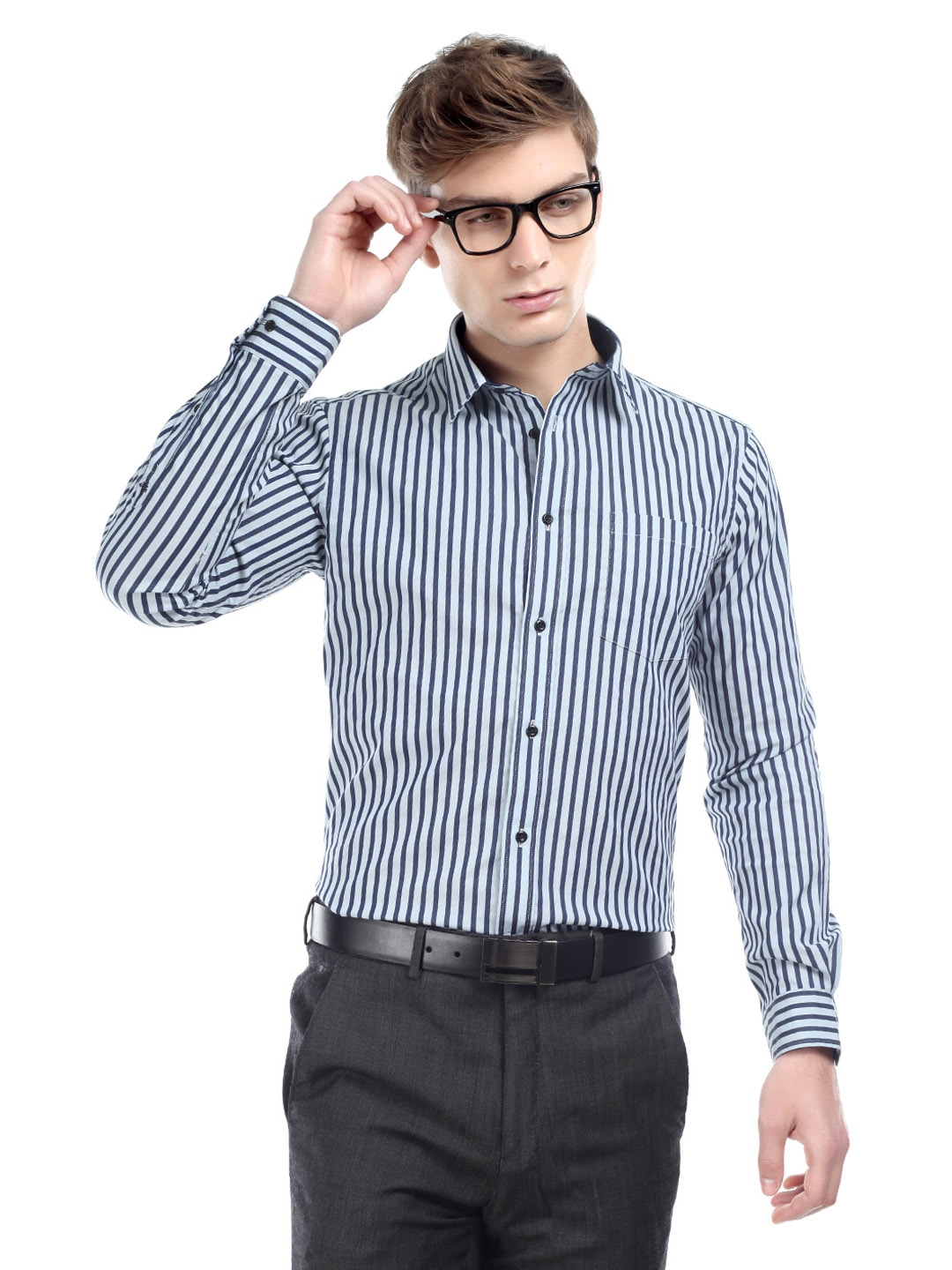 buy arrow new york men navy striped slim fit shirt