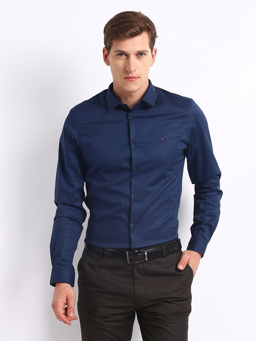 Buy Arrow New York Men Navy Super Slim Fit Smart Casual