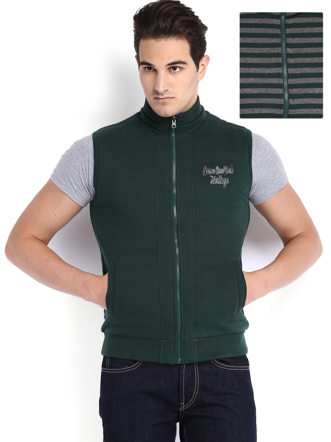 Arrow Sport Men Green & Grey Reversible Jacket