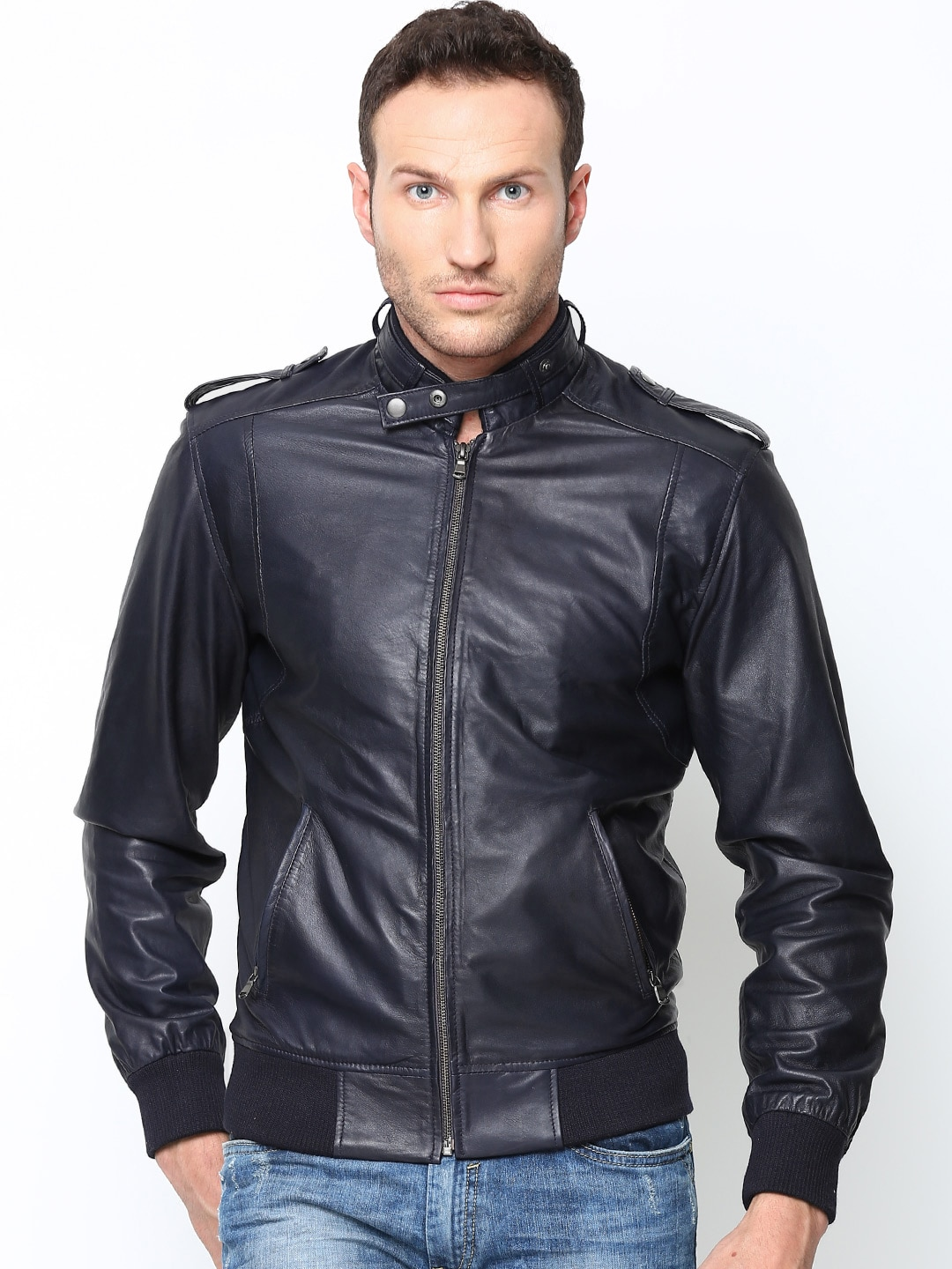 Bareskin Men Navy Leather Jacket