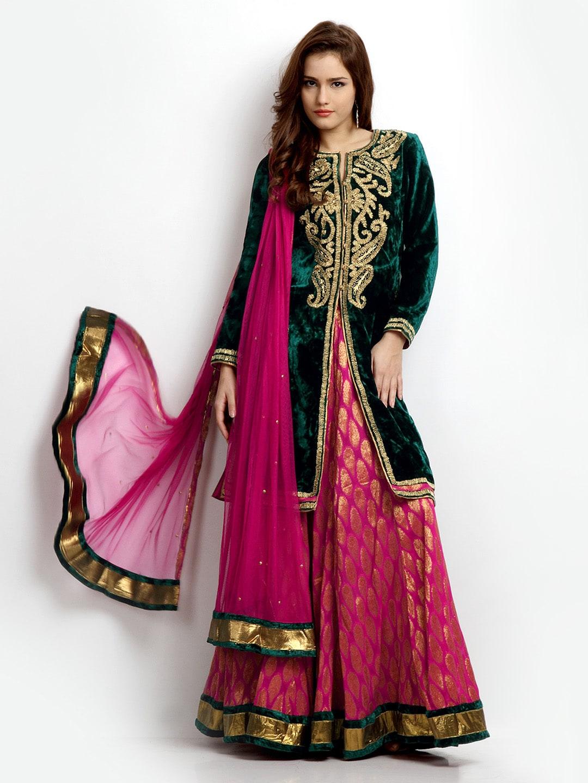 Buy BIBA Women Dark Green & Pink Velvet Anarkali Salwar