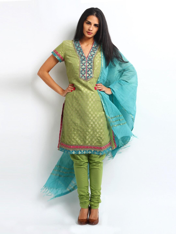 BIBA Women Green & Blue Churidar Kurta with Dupatta (multicolor)