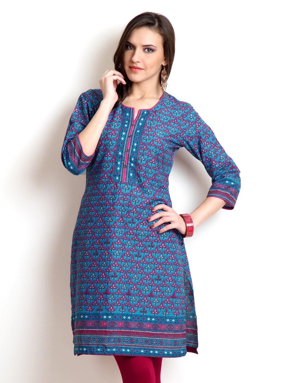 Buy BIBA Women Blue & Pink Printed Kurta - 364 - Apparel for Women ...: myntra.com/kurtas/biba/biba-women-blue-pink-printed-kurta/171568/buy