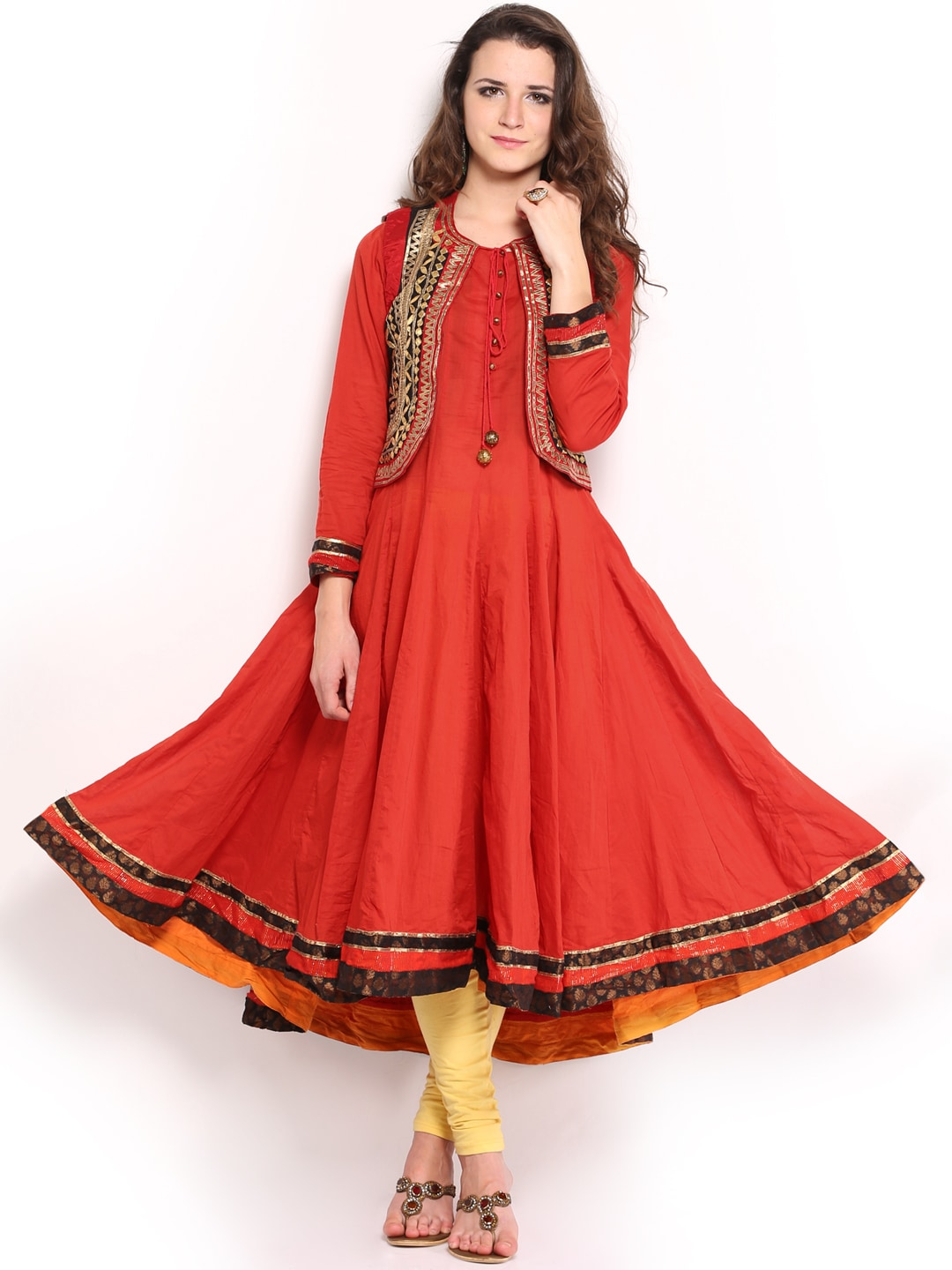 Buy BIBA OUTLET Women Rust Orange Anarkali Kurta With Waistcoat ...