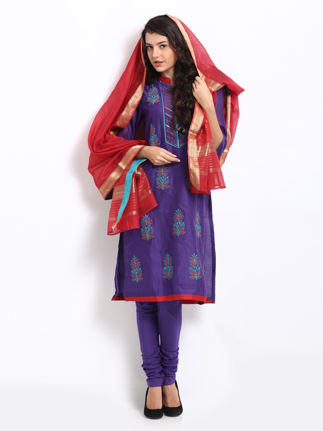 BIBA Women Purple & Red Churidar Kurta Set (multicolor)