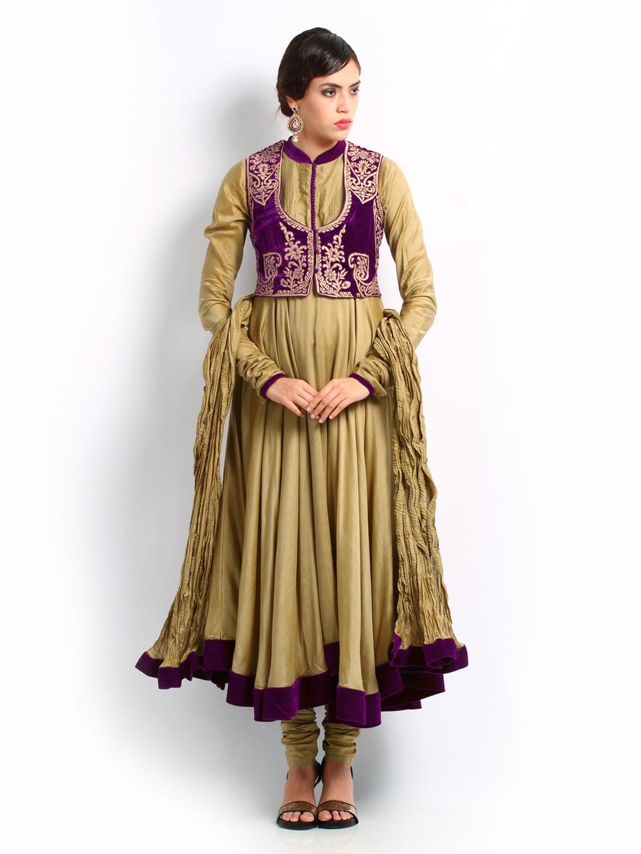 38aef018b9 BIBA by Rohit Bal Women Beige Anarkali Churidar Kurta Set (beige\/sand\