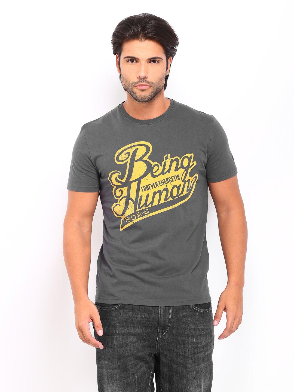 Buy being human clothing men grey printed t shirt 2 for Buy being human t shirts online