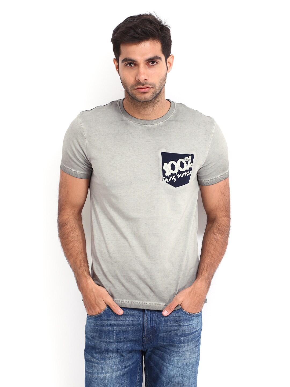 Buy being human clothing men grey t shirt tshirts for for Being human t shirts buy online india