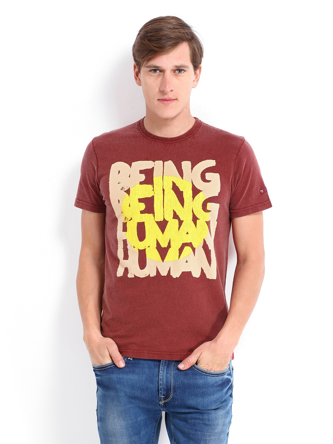 Buy being human clothing men maroon printed t shirt 289 for Buy being human t shirts online