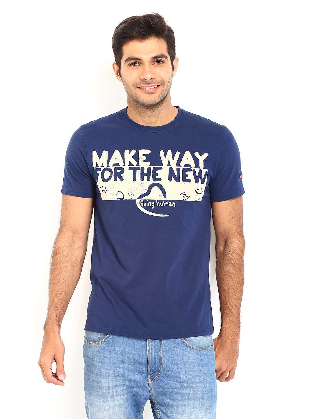 Buy being human clothing men navy printed t shirt for Being human t shirts buy online india