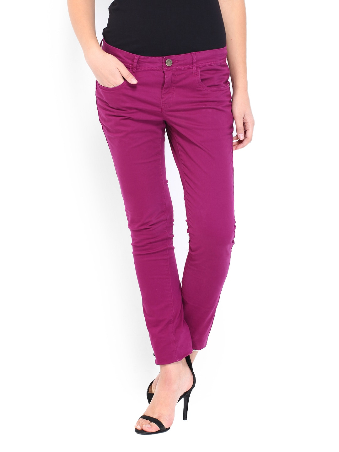 Being Human Clothing Women Purple Slim Fit Chino Trousers