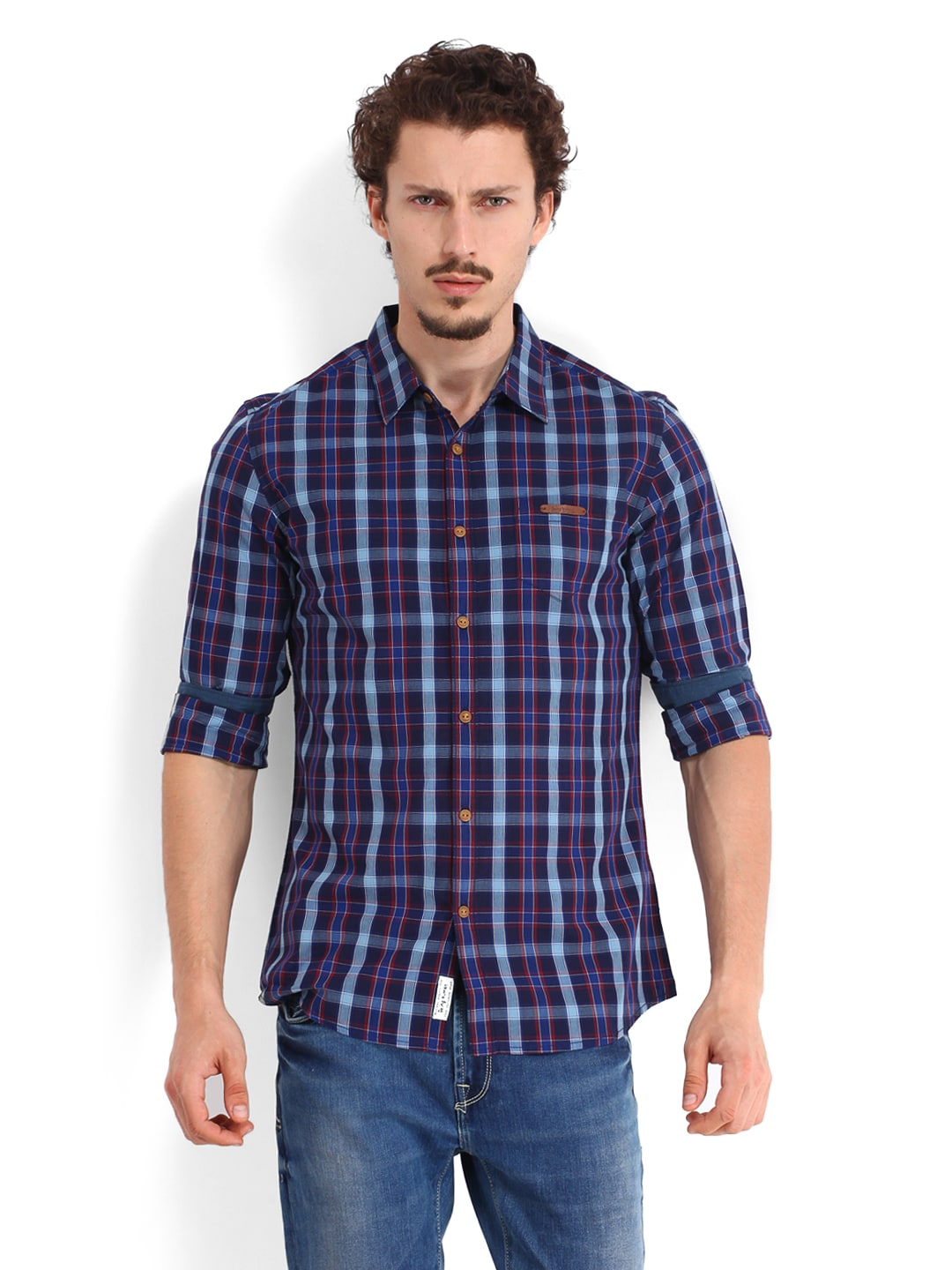 a96a0b9fd4c09 Being Human Men Navy   Red Checked Slim Fit Casual Shirt (multicolor)